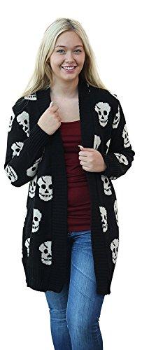 Crazy Girls Women's Skull Print Knitted Open Cardigan Black