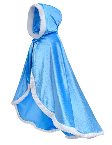 Party Chili Fur Princess Hooded Cape Cloaks Costume for Girls Dress Up Blue 10-12 Years(150cm)