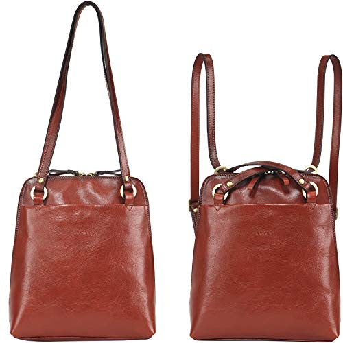 Banuce Small Leather Convertible Backpack Purse for Women Fashion Shoulder Bags Ladies Purse Travel Daypack Brown
