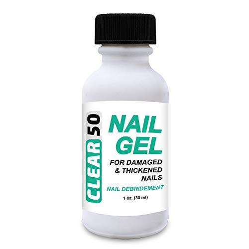 CLEAR 50 Nail Gel, 1 oz, 50% Urea, Hard Nail Softener, Quick Drying, For Soft and Brittle Free Nails, Fingernails & Toenails, Superior to Creams, With Easy Brush Applicator