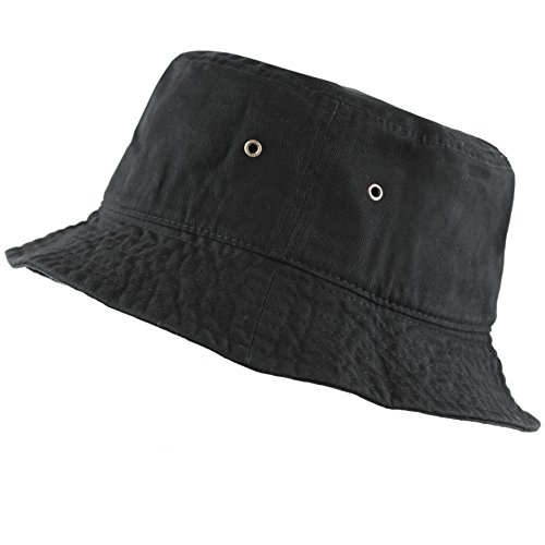 The Hat Depot 300N Unisex 100% Cotton Packable Summer Travel Bucket Hat (L/XL, Black)