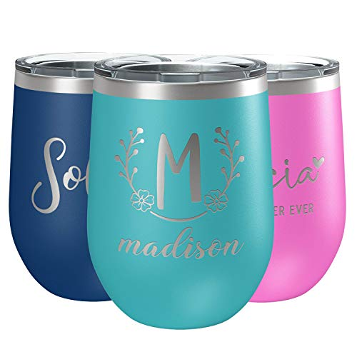 Personalized Wine Tumbler with Lid, 12 oz Sky Blue - Vacuum Insulated and Stainless Steel, Custom Stemless Wine Glass with Sayings for Woman, Name and Text