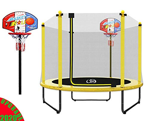 LANGXUN 60' Mini Trampoline for Kids - 5ft Outdoor & Indoor Trampoline with Basketball Hoop | Birthday Gifts for Kids, Gifts for Boy and Girl, Baby Toddler Trampoline Toys (2020 Upgrade)