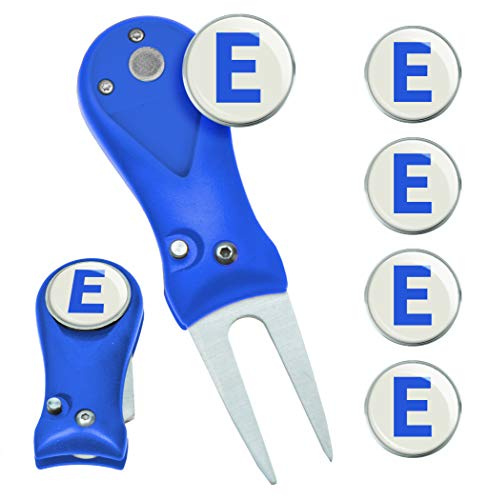 Clip Wipes Switchblade Golf Divot Tool & 5 Personalized Letter (A to Z) Ball Markers (Blue-E)