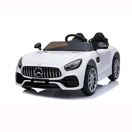 Lernonl 2 Seater Battery Powered Electric Cars for Kids Mercedes Benz Kids Rid on Car with Remote Control, LED Lights, Music (White)