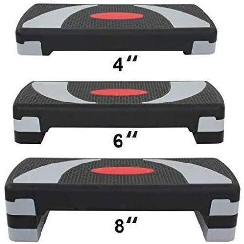 HomGarden 31' Adjustable Workout Aerobic Stepper in Fitness & Exercise Step Platform Trainer Stepper w/Risers Adjust 4' - 6' - 8' (Set of 1)