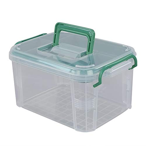 EudokkyNA Small Clear First Aid Kit Container Pack of 1, Storage Box with Tray