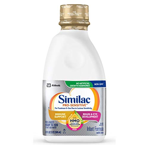 Similac Pro-Sensitive Infant Formula with 2'-FL Human Milk Oligosaccharide (HMO) for Immune Support, Ready to Feed, 32 Fl Oz (Pack of 6) (packaging may vary)