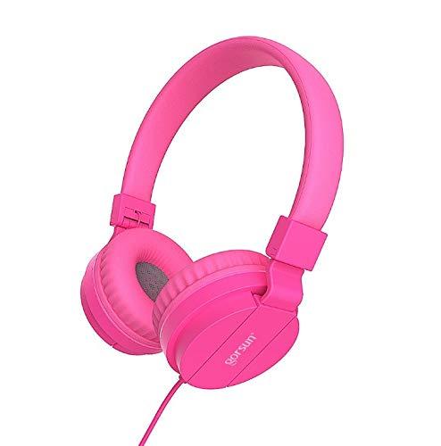 TENLUBEN Gorsun Lightweight Stereo Folding Wired Headphones for Kids Adults Adjustable Headband Headset for Cellphones Smartphones iPhone Laptop Computer Mp3/4 Earphones (Pink)