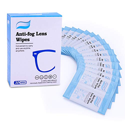 TELEPURE Anti Fog Wipes for Glasses (30 Packs), Lens Cleaning Wipes for Eyeglasses, Goggles and Delicate Surfaces, Individually Sealed Easy to Carry