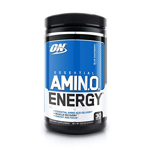 Optimum Nutrition Amino Energy - Pre Workout with Green Tea, BCAA, Amino Acids, Keto Friendly, Green Coffee Extract, Energy Powder - Blue Raspberry, 30 Servings