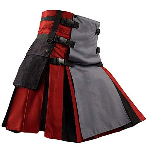 Mens Scottish Utility Kilt Pleated Irish Highland Hybrid Kilts with Cargo Pockets Red