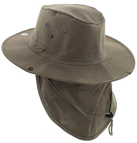 JFH GROUP Wide Brim Unisex Safari Outback Summer Hat with Neck Flap (Brown FB, XL)