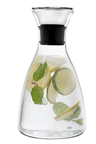 Eekay Wares Drip-Free Hot & Cold, Borosilicate 50 OZ Glass Carafe with Stainless Steel Flip Top Lid Great for decanting , serving wine, Beverage Pitcher