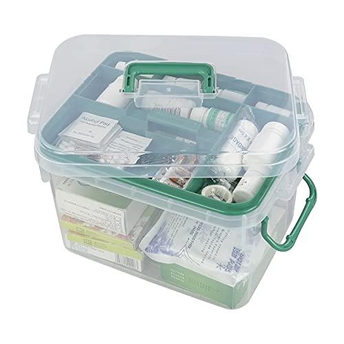 Qsbon 1-Pack Clear Storage Box Container, Family First Aid Box Medicine Box Organizer