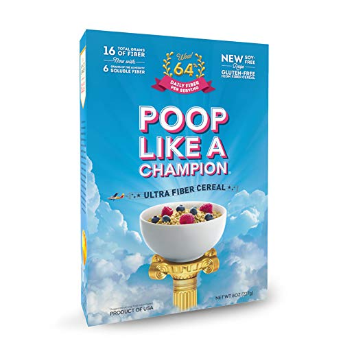 Poop Like A Champion High Fiber Cereal, Low Carb, Keto Friendly, Clean Label, Gluten Free Cereal - 0% Gluten, 9g Net Carbs, 16g Fiber per bowl - NO Wheat CLEAN LABEL PRODUCT!