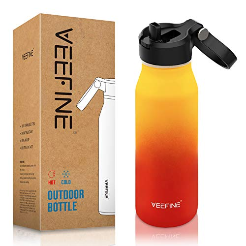 VEEFINE Water Bottle with Straw Lid Vacuum Insulated Stainless Steel Water Bottles Keep Cold Hot Leak Proof Thermos BPA Free Powder Coating Sweat Free for Camping Hiking Yoga and Gym, 40oz