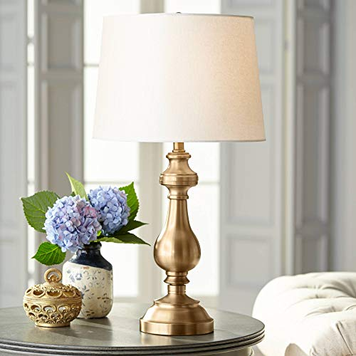 Traditional Table Lamp Antique Brass Candlestick White Fabric Drum Shade for Living Room Family Bedroom Bedside - Regency Hill