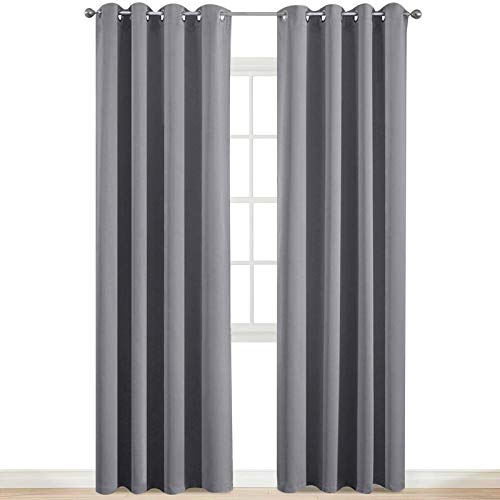 Yakamok Room Darkening Gray Blackout Curtains Thermal Insulated Grommet Curtain Panels for Bedroom, 52W x 84L, Grey, 2 Panels, 2 Tie Backs Included