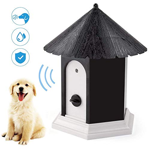 YC° Outdoor Bark Control Device, Anti Barking Device, Ultrasonic Stop Dog Bark Deterrents with Adjustable Ultrasonic Level Control Sonic Bark Deterrents Up to 50 Ft. Range Safe for Dogs