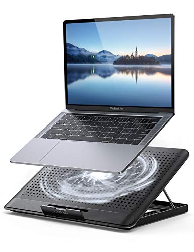 """Laptop Cooler, Lamicall Laptop Cooling Pad : Portable Height Adjustable Laptop Cooling Fan Stand Holder Riser Compatible with MacBook Air Pro Dell XPS HP Alienware Laptop Notebooks Up to 17"""" - Black"""
