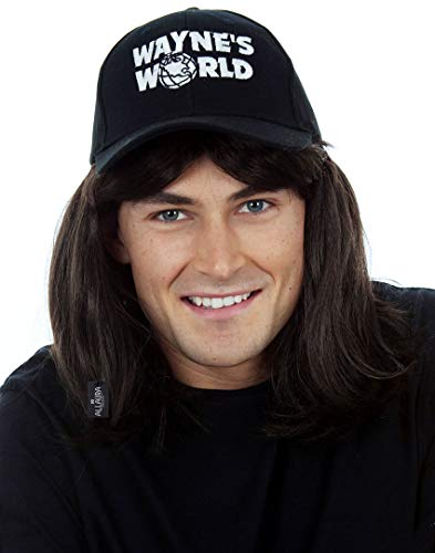 80s Heavy Metal Rocker Wig with Hat Costume Set. Black Costume Wigs for Men 1980s Mullet Wig. Fits Adults & Kids