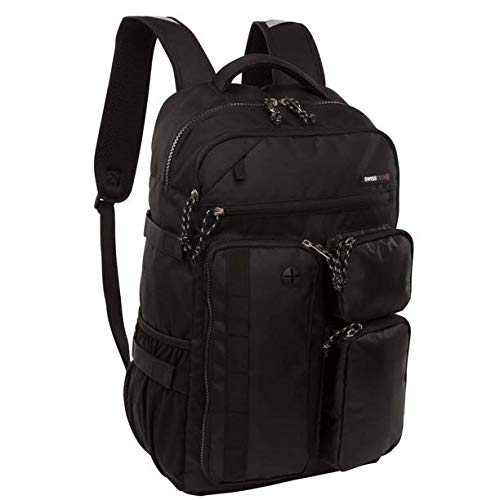 SwissTech Lucerne School Backpack with Laptop and Tablet Sleeve, Black