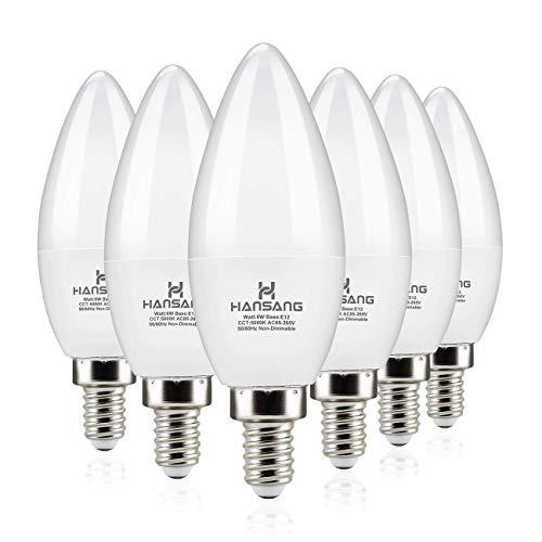 Hansang LED Candelabra Bulbs 6 Watt (60 Watt Equivalent),Daylight 5000K,600lm RA83,Candle Bulb Base E12 for Chandelier B11 Ceiling Fan Bulb Non-Dimmable (6 Pack)