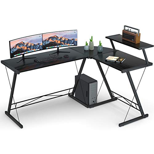 Reversible L Shaped Desk Home Office Desk with Round Corner.Coleshome Computer Desk with Large Monitor Stand,PC Table Workstation, Black