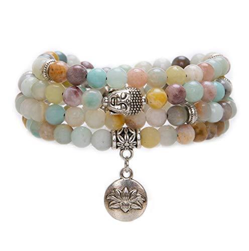 Bivei 108 Mala Beads Bracelet - Genuine Gemstone Mala Prayer Beads Lotus Charm Meditation Necklace-Amazonite