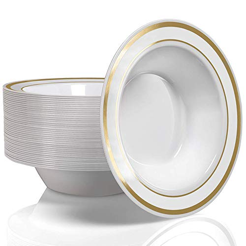 Stock Your Home 12 Oz Fancy Disposable Dinner Bowls for Holidays, Parties, Weddings, Catering, 50 Bowls (Gold)