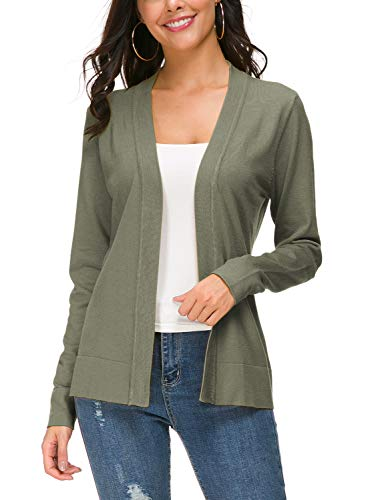 Urban CoCo Women's Long Sleeve Open Front Knit Cardigan Sweater (M, Washed Oliver)