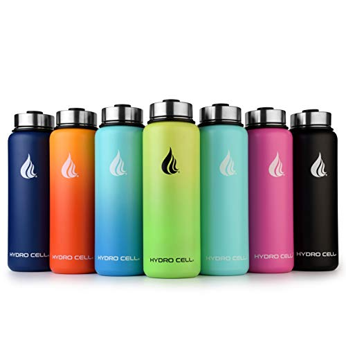 HYDRO CELL Stainless Steel Water Bottle w/Straw & Wide Mouth Lids (40oz 32oz 24oz 18oz) - Keeps Liquids Hot or Cold with Double Wall Vacuum Insulated Sweat Proof Sport Design (Graphite 40 oz)