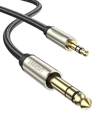 UGREEN 6.35mm 1/4' Male to 3.5mm 1/8' Male TRS Stereo Audio Cable with Zinc Alloy Housing and Nylon Braid Compatible for iPod, Laptop,Home Theater Devices, and Amplifiers, 10FT