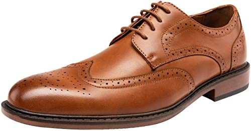JOUSEN Mens Dress Shoes Brown Wingtip Lightweight Oxford Shoes for Men (9,Brown)