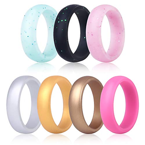 TQQ Silicone Rings for Women, Upgraded Breathable Rubber Rings, Classic Style, Colorful, Comfortable Fit Silicone Wedding Bands