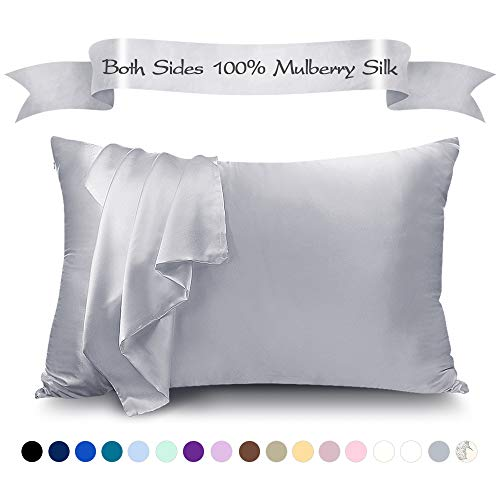LULUSILK Mulberry Silk Pillowcase for Hair and Skin, 100 Pure Silk Pillow Case Cover 16 Momme with Hidden Zipper, Silvergrey, Queen Size, 1 Pack