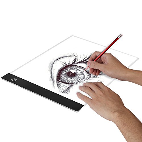 A4 Electronic Tracing Board, Adjustable LED Art Stencil Board Light Pad Tracing Drawing Board for Kids Artists with Cable