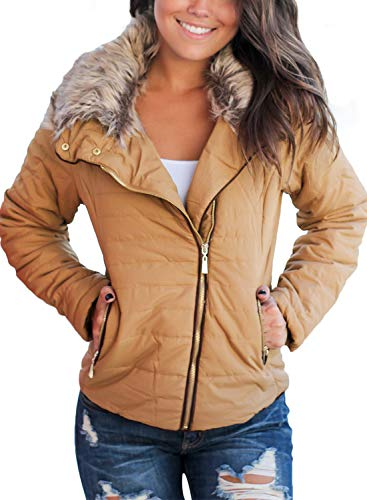 Dokotoo Womens Casual Fashion Winter Solid Faux Fur Collar Zip Up Quilted Puffer Jacket Coat Outerwear with Pockets Khaki Large