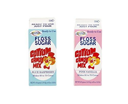 Concession Essentials CE Floss Sugar-2- Blue-Pink Cotton Candy Floss Sugar, Blue Raspberry/Pink Vanilla, 4' Height, 4' Width, 9' Length (Pack of 2)