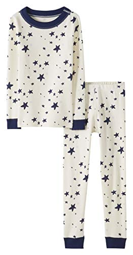 Moon and Back by Hanna Andersson Big Kids 2 Piece Long Sleeve Pajama Set, Navy Star, 14/16