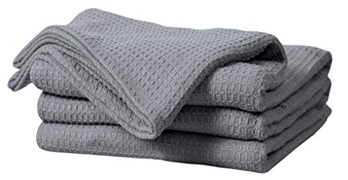 Bed Bath & Home 100% Cotton Waffle Weave Thermal Blankets – Soft Comfortable Breathable – Perfect for Bed Couch Sofa – Queen Size (90 x 90 Inches), Grey