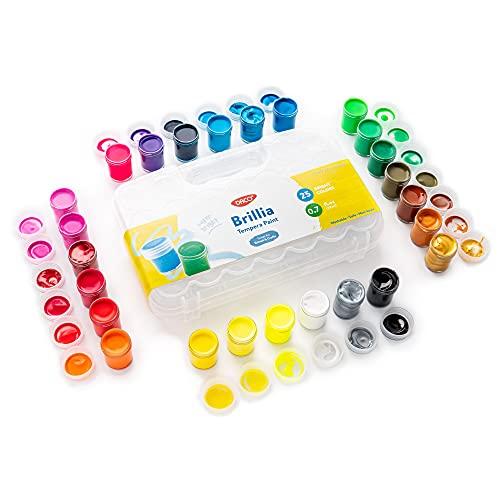 DACO Brillia Kids Paint, 25 Colors Art Set, 0.7 fl.oz (20ml) Paint Pots with Carry Case, School Supplies for Kids, Non Toxic Tempera Paint, Washable Paint for Kids, Art and Craft Supplies & Materials