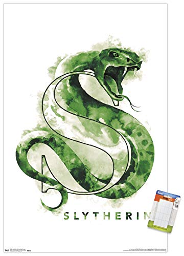 Trends International Poster Mount Wizarding World: Harry Potter-Slytherin Illustrated House Logo, 22.375' x 34', Poster & Mount Bundle