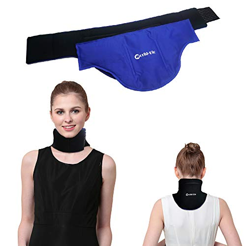 WORLD-BIO Neck Ice Pack, Hot/Cold Gel Pad & Adjustable Compress Wrap for Injuries, Migraines, Headache, Arthritis, Cold Therapy for Shoulder, Cervical, Muscle Pain, Neck Tension (18.2' X 8.9', Blue)