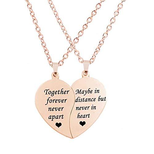 MJartoria BFF Necklace for 2-Split Valentine Heart Necklace Together Forever Never Apart Best Friends Pendant Friendship Necklace Set of 2 Gifts for Her(A-Rose Gold)
