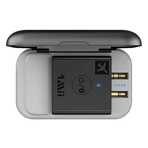 Airplane Bluetooth 5.0 Adapter for Headphones W/ Portable Charging Case Universal Wireless Flight Audio Transmitter Supports AptX Low Latency & HD, Gift for Men / Women - 1Mii B05