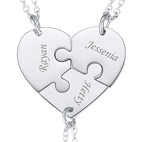 U7 BFF Necklace for 2/3/4/5/6 Best Friends Stainless Steel Chain Personalized Family Love/Friendship Jewelry Set Personalized Engraving Heart Pendants (Set of 3 Stainless Customized)