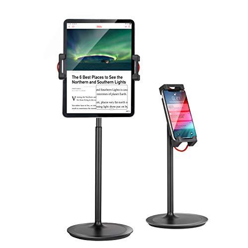 Tablet Ipad Stand Holder, SAIJI Adjustable Phone Stand, 360 Degree Rotating, Aluminum Alloy Cradle Desktop Holder Dock for 4.7'-12.9' Screen Phones, iPad, Nintendo Switch, Kindle, eBook Reader (Black)