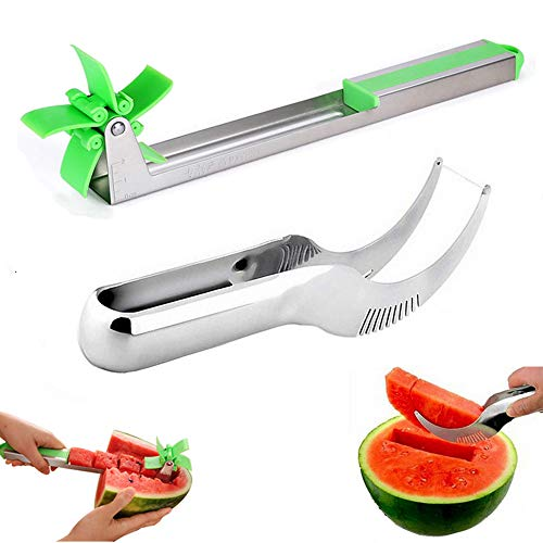 Watermelon Slicer Smart Watermelon Windmill Slicer,Stainless Steel,Watermelon Cubes Slicer and Corer